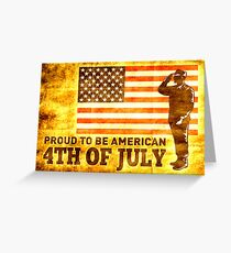 American soldier saluting flag 4th of July Greeting Card