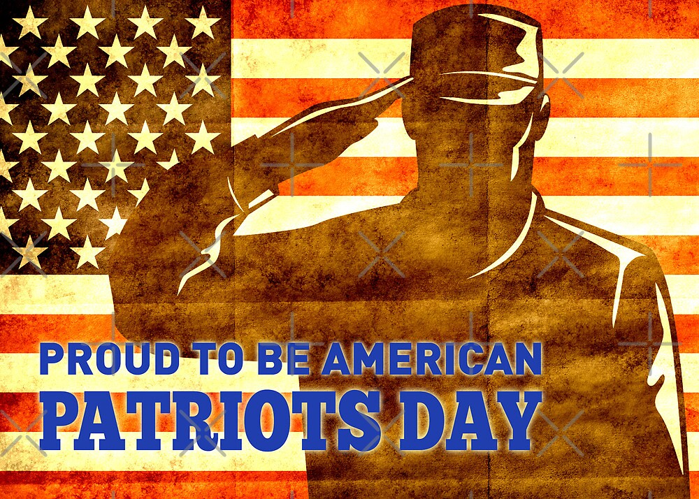 American soldier saluting flag Patriot Day card  by patrimonio