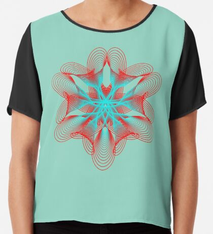 Spirograph with red and blue Chiffon Top