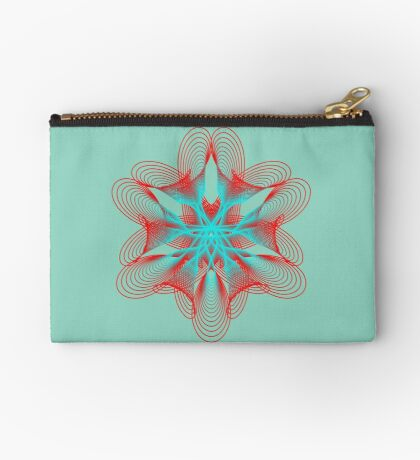 Spirograph with red and blue Zipper Pouch