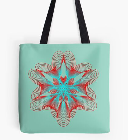 Spirograph with red and blue Tote Bag