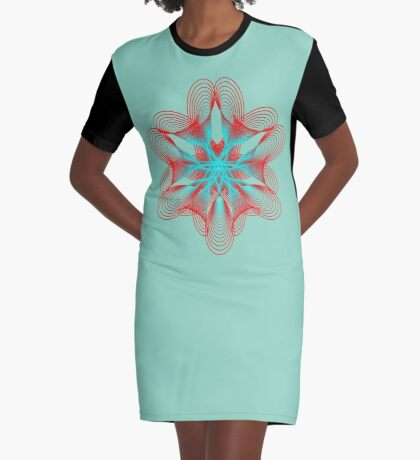 Spirograph with red and blue Graphic T-Shirt Dress