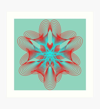 Spirograph with red and blue Art Print