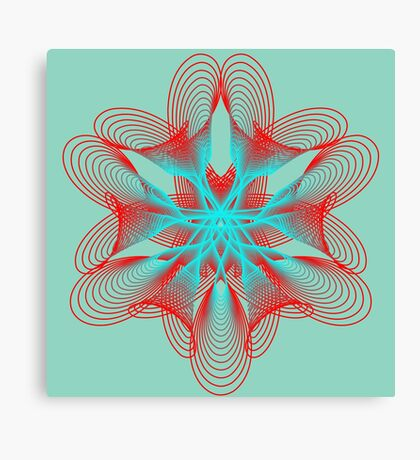 Spirograph with red and blue Canvas Print