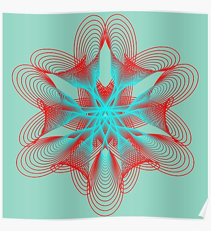 Spirograph with red and blue Poster