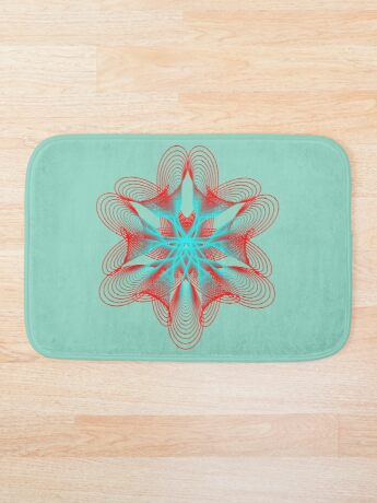 Spirograph with red and blue Bath Mat