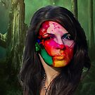 Girl with a wrap around face in the forest by TeAnne