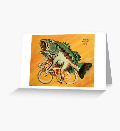 Bass on a Bicycle Greeting Card