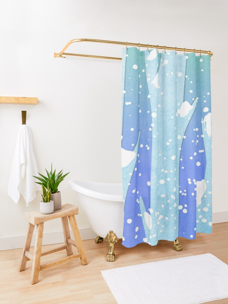 Alternate view of Wintery Trees Shower Curtain