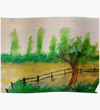 Misty Trees in backround, with fence, watercolor Poster