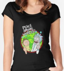 Peace Among Worlds Rick and Morty Funny Flipping Middle Finger shirt Fan Gift Fitted Scoop T-Shirt