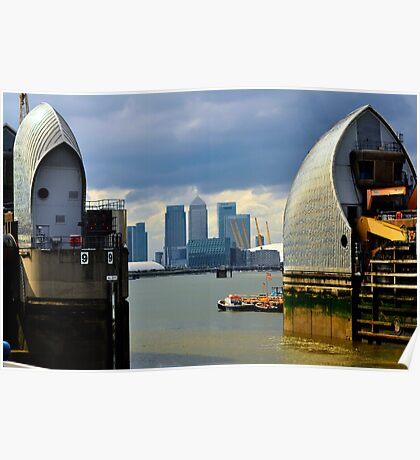 Canary Wharf & O2 Arena From Thames Barrier Poster