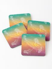 Galactic Rainbow Jellyfish Coasters