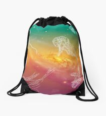 Galactic Rainbow Jellyfish Drawstring Bag