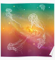 Galactic Rainbow Jellyfish Poster