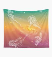 Galactic Rainbow Jellyfish Wall Tapestry