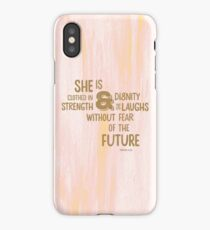 Pretty Painted Modern Typographic Bible Verse. iPhone Case/Skin