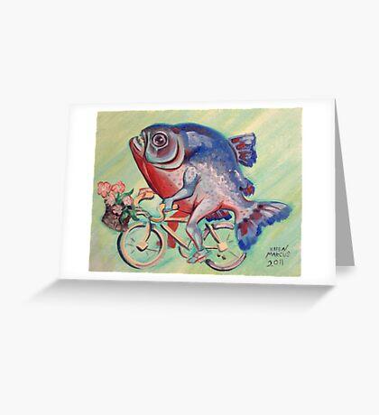 Piranha on a Bicycle Greeting Card