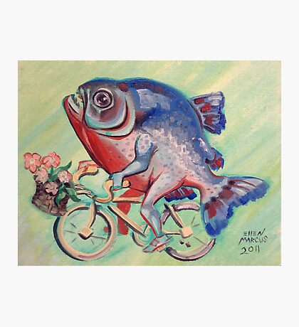 Piranha on a Bicycle Photographic Print