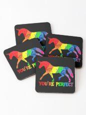 Rainbow Flag - Magical Unicorn - You're perfect! - faith and truth Coasters