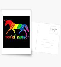 Rainbow Flag - Magical Unicorn - You're perfect! - faith and truth Postcards