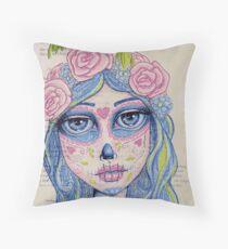 Sugar Skull Girl 1 of 3 Throw Pillow