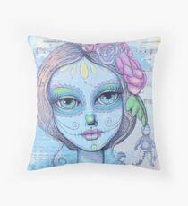 Sugar Skull Girl 2 of 3 Throw Pillow
