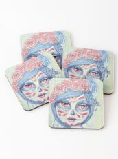 Sugar Skull Girl 3 of 3 Coasters