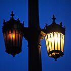 4th St. Bridge Lights at Twilight by Escott O. Norton