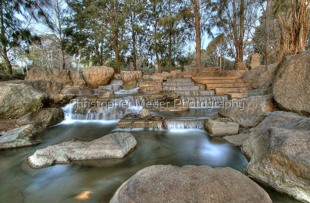 Waterfall at Ginninderra Lake by Christopher Meder Photography