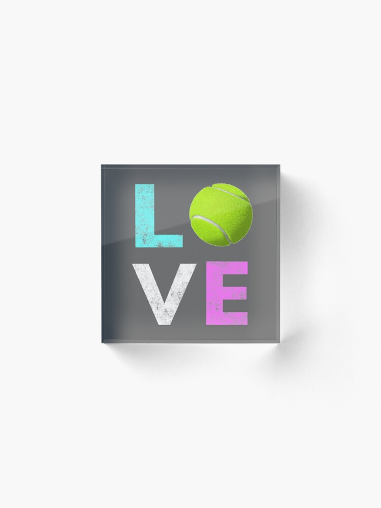 Alternate view of Awesome Tennis gift for Girls & Women LOVE Tennis Love Acrylic Block