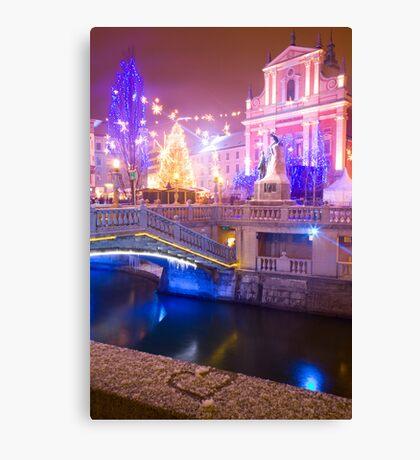 Christmas lights in Preseren Square in Ljubljana Canvas Print