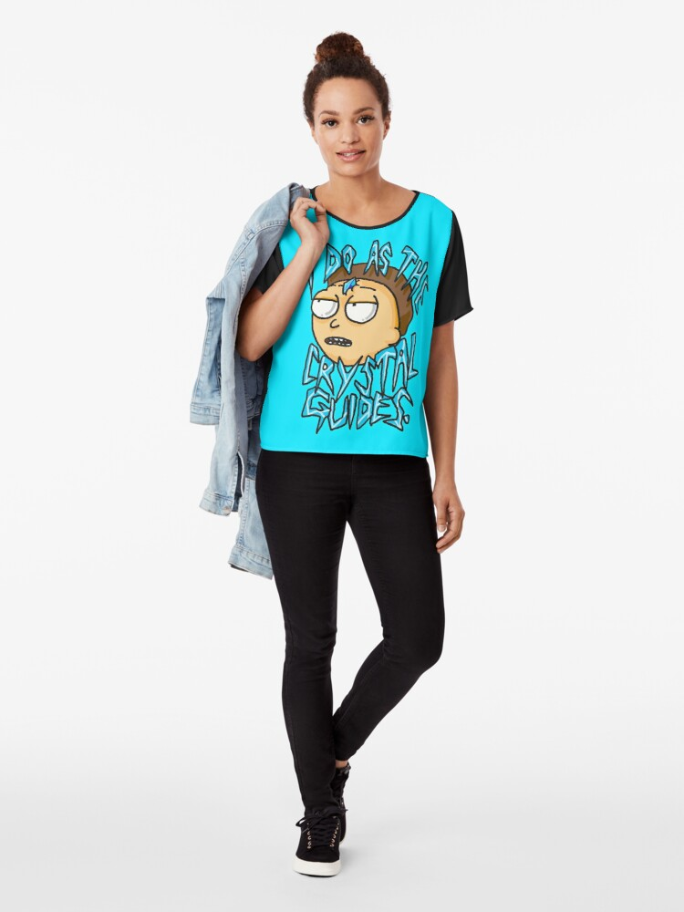 """Alternate view of Morty """"I Do As The Crystal Guides"""" quote from Rick and Morty™ Death Crystal Chiffon Top"""