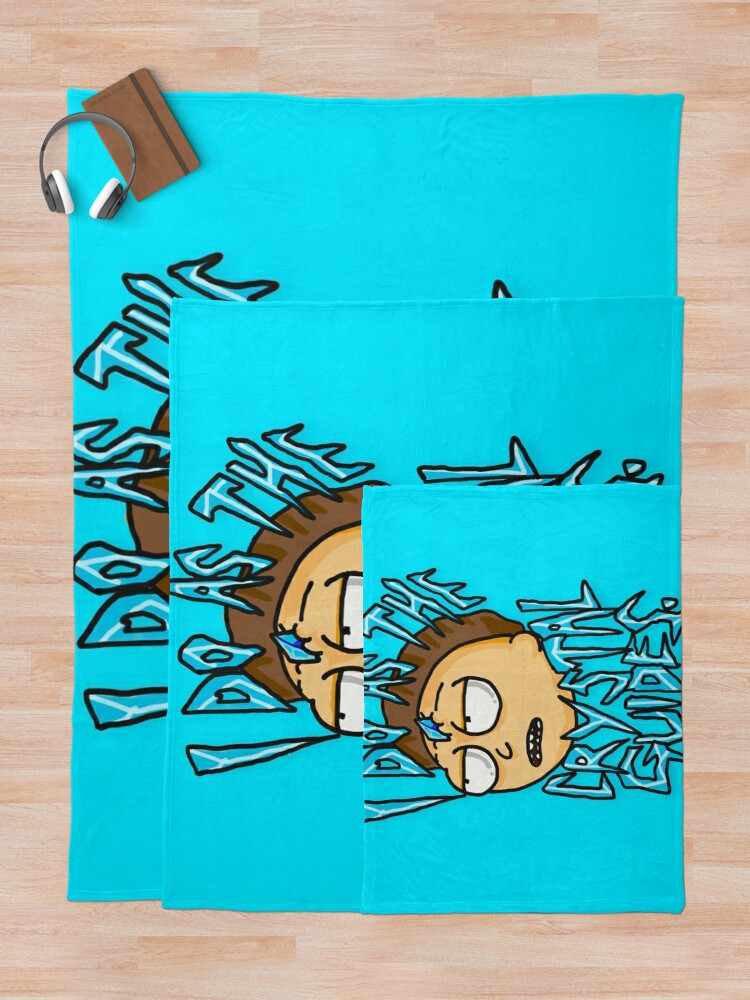"Alternate view of Morty ""I Do As The Crystal Guides"" quote from Rick and Morty™ Death Crystal Throw Blanket"