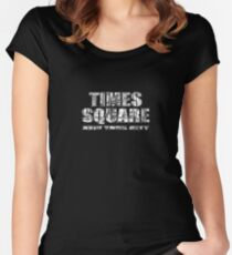 Times Square New York City (B&W market sketch on black) Fitted Scoop T-Shirt
