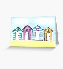 Watercolour Beach huts Greeting Card