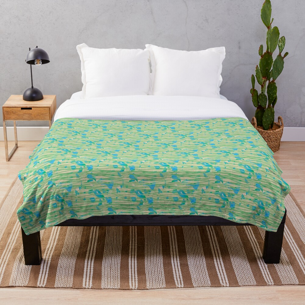 Pale Green Lines Over Sunset Throw Blanket