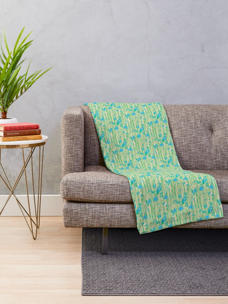 Alternate view of Pale Green Lines Over Sunset Throw Blanket