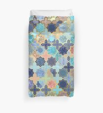 Peach and Blue Geometric Tile Pattern Duvet Cover