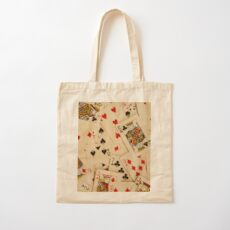 Scattered Pack of Playing Cards Hearts Clubs Diamonds Spades Pattern Cotton Tote Bag