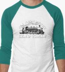 All Aboard of the Send Train - Climbing Pun Baseball ¾ Sleeve T-Shirt