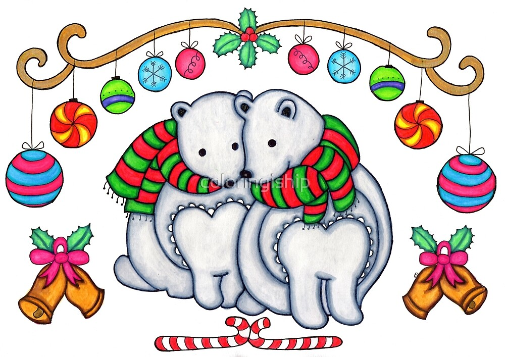 Christmas Polar Bear by coloringiship