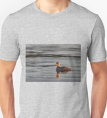 Little grebe in blue water Slim Fit T-Shirt