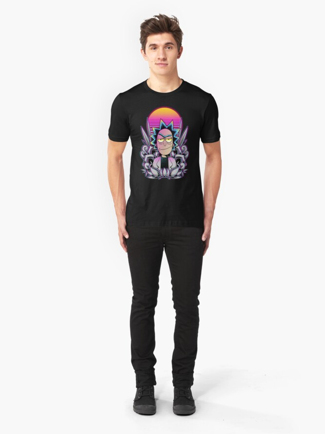 Alternate view of Synthwave Rick Sanchez Slim Fit T-Shirt