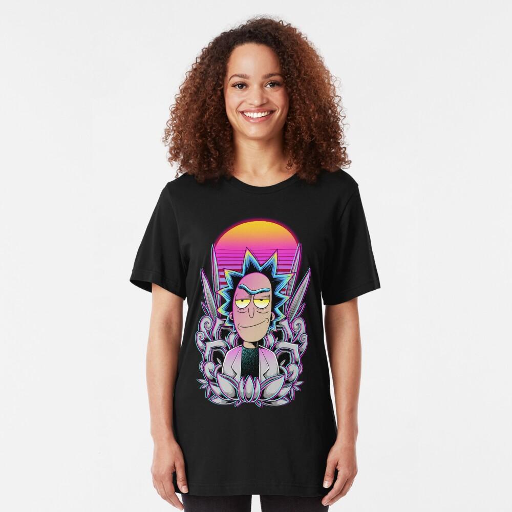 Synthwave Rick Sanchez Slim Fit T-Shirt