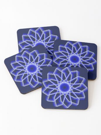Blue Lines Abstract Flower Coasters