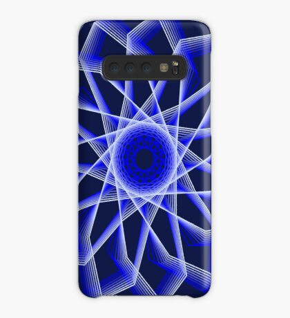 Blue Lines Abstract Flower Case/Skin for Samsung Galaxy