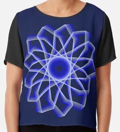 Blue Lines Abstract Flower Chiffon Top