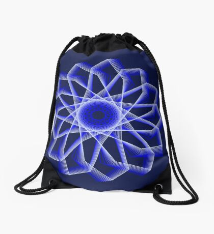 Blue Lines Abstract Flower Drawstring Bag