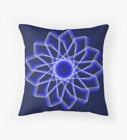 Blue Lines Abstract Flower Throw Pillow